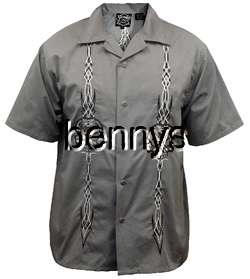 NEW Skull Pinstripe Biker Work Shirt, Hard Chrome, L |