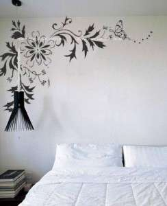 BUTTERFLY & FLOWERS Wall Art Removable Wall Decal in large size