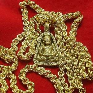 1973 LP NGERN THAI BUDDHA AMULET & GOLD PLATED NECKLACE