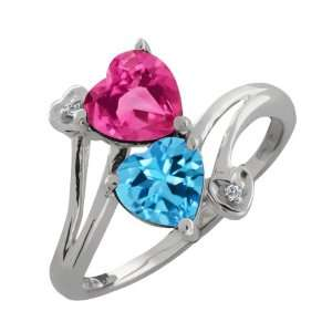 Heart Shape Pink Mystic Topaz and Swiss Blue Topaz 14k White Gold Ring