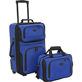 Rio 2 Piece Lightweight Carry On Luggage Set Royal Blue