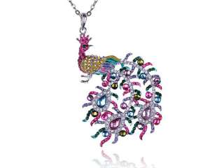 Rainbow Pastel Colorful Crystal Rhinestone Phoenix Peacock Bird