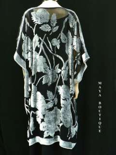 Silk Burnout Velvet Jacket Kimono Duster Silver Black No Fringe Maya