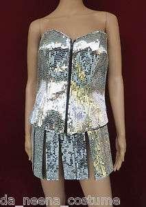 Da NeeNa Robot Showgirl Roman Holloween Armor Lady Gaga Mirror Corset