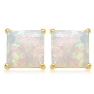 Gold, October Birthstone, Created Opal 7 mm Square Earrings: Jewelry