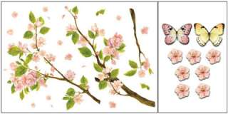 cherry blossom tree butterfly graphic wall decor stickers peel stick