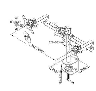 Three LCD Monitor Desk Mount Adjustable Double Arm
