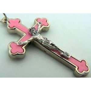 Silver P Crucifix New Born Baby Girl Child Pink Cross