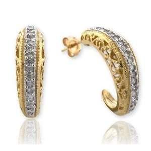 14k Yellow Gold Crescent Moon Filigree Diamond Earrings