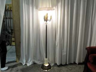 Beautiful Art Deco Floor Lamp Brass & Alabaster w Large Milk Glass
