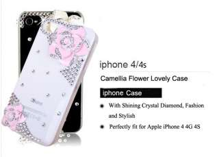 4S Camellia Bling Diamond Hard Case Cover Skin Handmade Pink