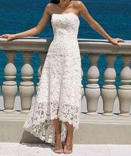 Strapless Lace White Beach Wedding Bridesmaid Prom Evening Party Gown