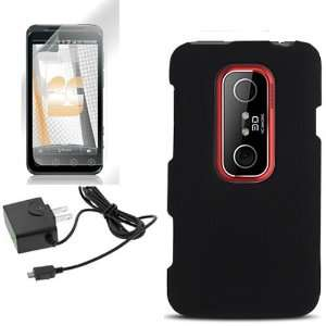 HTC EVO 3D BLACK RUBBERIZED CASE, TRAVEL HOME WALL CHARGER, LCD SCREEN