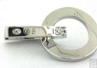 MOVADO 18K WHITE GOLD 1.0CT VS1/F DIAMOND HOOP DANGLE EARRINGS