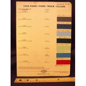 1958 FORD Truck Paint Colors Chip Page Ford Motor Company