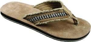 Sanuk Mens Fraid So Leather Thong Flip FLops Sandals