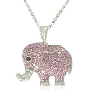 Elephant Pendant with Black and Pink Cubic Zirconia, 18.5 Jewelry