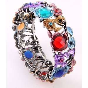 Fashion Jewelry Antique Metal Mixed Acrylic Jewelry Flower Cuff Bangle