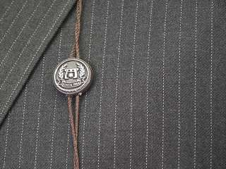 NEW NWT Mens CARAVELLI Dark Gray Pinstripe Suit