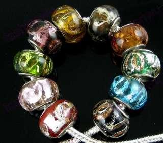 50Pcs Gold Silver Foil Glass Beads Fit Charm Bracelet 1