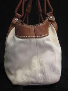 AUTH HOGAN Beige Canvas Brown Leather Handbag
