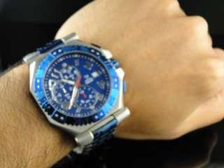 AQUA MASTER BLUE AND SILVER METAL BAND DIAMOND WATCH