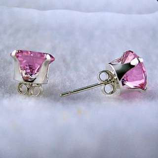 5mm created Pink Sapphire Stud Earrings 925 SS 1.0ct