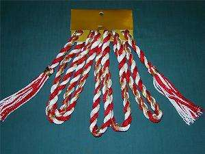 CHRISTMAS TREE RED/WHITE/GOLD ROPE TASSEL GARLAND 9