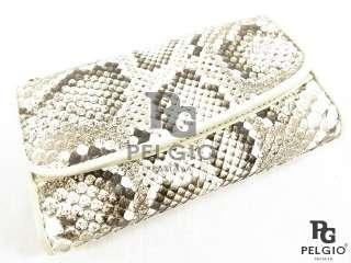 PELGIO New Genuine Python Snake Skin Leather Medium Clutch Wallet