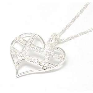 925 Silver Open Heart CZ Pendant on 18 Chain by TOC
