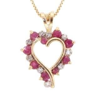 Genuine Ruby Diamond Open Heart Gold Pendant: Glitzs: Jewelry