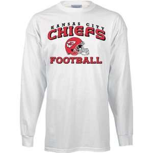 Kansas City Chiefs White Stacked Helmet Long Sleeve T