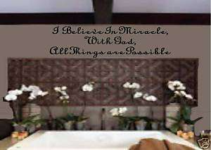 WALL ART VINYL LETTERS,WALL DECOR,I BELIEVE IN MIRACLES