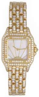 Cartier Ladies Panther 18k Yellow Gold Pave Diamond Watch