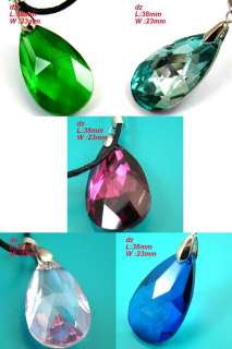 c823 Lovely Multi color Faceted Teardrop Crystal Pendant Chain