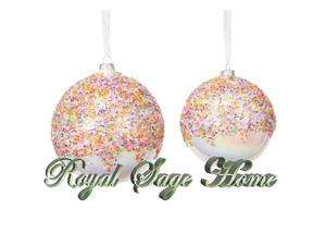 44468 LARGE 5 Ice Cream Sprinkles Ball GLASS Ornament S/2