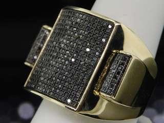 MENS YELLOW GOLD FULL BLACK DIAMOND PINKY RING PAVE BIG