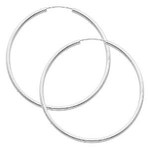 14K White Gold 2mm High Polished Large Endless Hoop Earrings (1.8 or