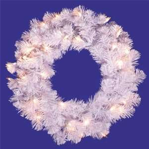 20 in. PVC Christmas Wreath   Crystal White   50 Clear Dura Lit Lights