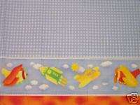 Airplane Helicopter Rockets Border Nursery Fabric