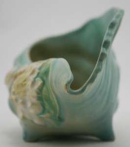 ROSEVILLE WATERLILY 6 CONCH SHELL IN AQUA GREEN/BLUE #445 MINT