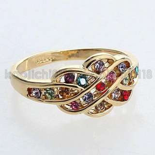 Pretty colorful CZ 18KT Yellow gold Plated ring 015Jz