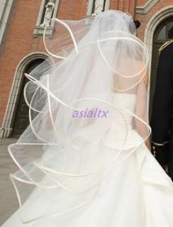 New woman white Short Bridal Wedding Dress Veil Lace Purfle(You can
