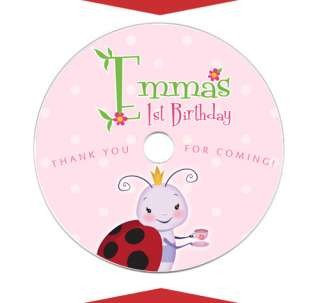 LADYBUG Personalized Birthday Party Favors Music CD DVD LABELS