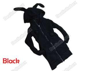 Fashion Cute Womens Bunny Ears Warm Sherpa Hoodie Jacket Coat tops