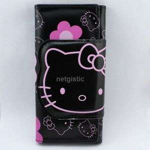 Black hellokitty kitty cat bifold flap cover bag wallet purse women