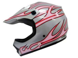 YOUTH SILVER PINK FLAME DIRT BIKE MOTOCROSS HELMET MX~L