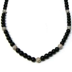 Cystals Pave Disco Balls Black Glass 10mm Beads Men Hip Hop Long Chain