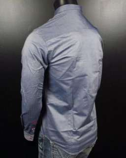 Mens Shirt STONE ROSE Navy Slim Fit Collection LED 771 Button up Woven