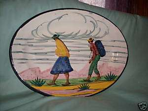 FCA PERU,POTTERY HAND PAINTED.Oval Platter,Woman & Man